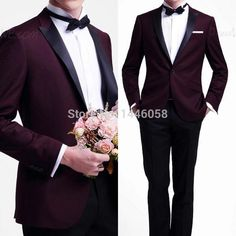 New 2015 Mens Suits One Button Dark Purple Tuxedo Jacket Black Lapel Custom Made Wedding Suits For Men 3 Piece Men Suit Groom-in Suits from Men's Clothing & Accessories on Aliexpress.com | Alibaba Group
