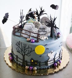 """Halloween graveyard cake! The tombstone in the back says """"I'm just here for the cake"""". Cake # 014."""