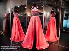 Coral Two Piece High Low-Soft Satin-Beaded Crop Top-Beaded Short Skirt-116RA070740 at Rsvp Prom and Pageant, your source for the HOTTEST Prom and Pageant Dresses!