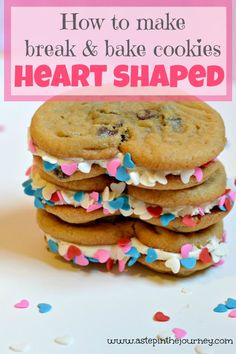 How to make Break and Bake Cookies Heart Shaped. Perfect for an easy Valentine's Day treat!