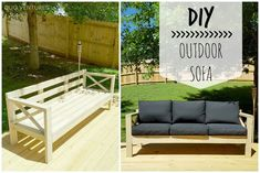 After we finished our DIY deck back in March, it became even more apparent that we needed more outdoor seating. Outdoor Couch, Outdoor Seating, Outdoor Spaces, Outdoor Living, Outdoor Decor, Wood Patio Furniture, Outdoor Furniture Plans, Wood Sofa, Building Furniture