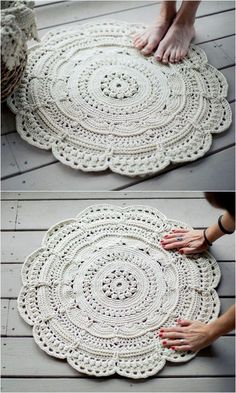 70 Flawless And Adorable Free Crochet Patterns Traditional Floor Rug Free Crochet Pattern Crochet Doily Rug, Crochet Rug Patterns, Crochet Carpet, Crochet Quilt, Crochet Round, Crochet Patterns For Beginners, Crochet Home, Free Crochet, Knitting Patterns