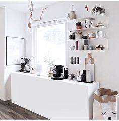 via Only Deco Love Coffee Station Kitchen, Coffee Bar Home, Coffee Corner, Scandinavian Kitchen, Minimalist Kitchen, Small Apartments, Room Inspiration, Kitchen Decor, New Homes