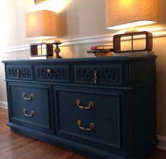 And a pop of color! Pop piece! This pure oak vintage beauty is a mid century lovers dream. Painted in Annie Sloan's Aubusson Blue and sealed with wax for protection. The result is gorgeous!~Now Available