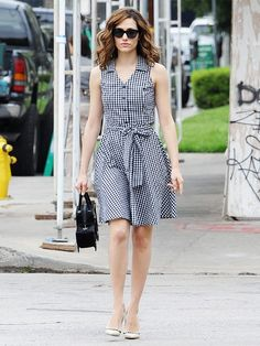 Go gingham! This print is a fun alternative to stripes and perfectly preppy. (Emmy Rossum)