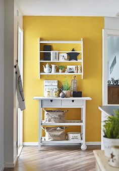 Gold Home Accents Apartment Therapy is part of Allmodern Sale Shop Gold Accent Furniture Apartment Therapy - Yellow kitchen accent wall via sadecor Yellow Kitchen Inspiration Remodelaholic Yellow Kitchen Accents, Yellow Kitchen Walls, Yellow Accent Walls, Accent Wall In Kitchen, Accent Wall Colors, Turquoise Kitchen, Yellow Kitchens, Yellow Accents, Bedroom Turquoise