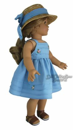 Blue Sun Dress Plus Straw Hat Made for American Girl Doll Clothes Great Price | eBay
