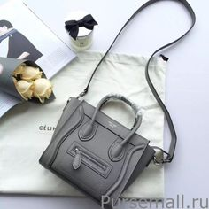 Celine Nano Luggage Bag In Grey Grained Leather