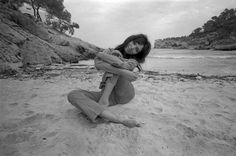Danish actress Ana Karina on a beach in Mallorca Spain during filming of The Magus with Michael Caine