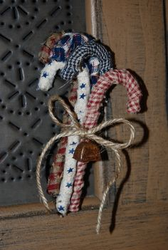Homespun Candy Cane decorations