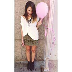 """#fpcara  on Free People.  """"We love to pair a casual tee with a girly skirt for a fun and flirty look!"""" #mymaxxexpression"""