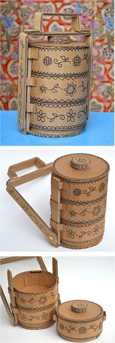 DIY Tiffin boxes made from cardboard