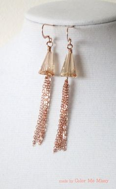 Rose Gold Earrings -rose gold filled, hand beaded, Swarovski gold shadwo crystal.