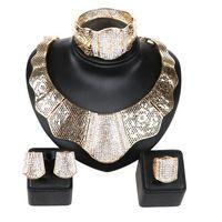 Frete grátis Completa Strass Colar Brincos Pulseira Anel define moda dubai ouro africano banhado conjuntos de jóias