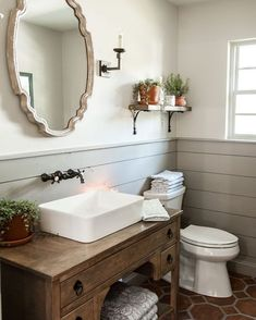"""1,468 Likes, 14 Comments - Cassity Kmetzsch (@remodelaholic) on Instagram: """"We absolutely love this farmhouse powder bath with Italian touches from @fixerupperhgtv. We've…"""""""