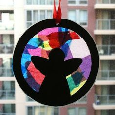 """momstown Calgary: Toddler """"Stained Glass"""" Angel Craft - think makes me remember doing this with little scraps of tissue paper as a young child Christmas Angel Crafts, Preschool Christmas, Christmas Activities, Preschool Crafts, Kids Christmas, Holiday Crafts, Christmas Ornaments, Stained Glass Angel, Stained Glass Crafts"""