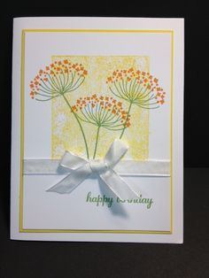 handmade birthday card from Mon Creative Coin !: Un anniversaire de fleurs sur le terrain .... Summer Silhouettes flowers stamped over a square of masked off stamping ... luv hte sunny yellows ... Stampin' Up!