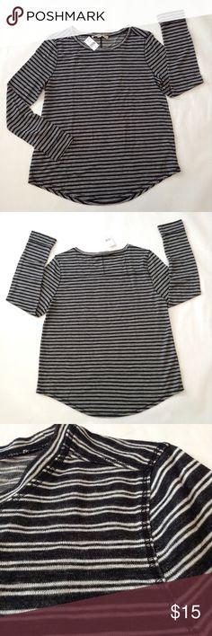 "Loft black white striped shirttail tee Approx 24-26"" ↕️ 25"" sleeve with 2"" cuff 20"" ↔️ armpits So soft! LOFT Tops Tees - Long Sleeve"