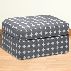 DwellStudio Rounded Ottoman in Dotscape Charcoal FREE SHIPPING