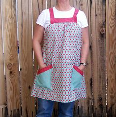 Womans No Tie Smock ApronOne SizeAqua and by SusiesTieOneOnAprons - COUPON CODE???  Be sure to check the shop announcements for current applicable codes that could save $$.