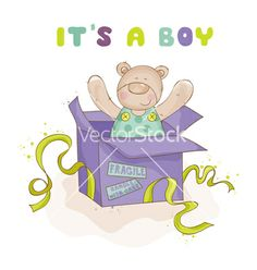 Baby bear in a box - baby shower or arrival card vector  by woodhouse84 on VectorStock®