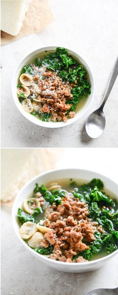 whole wheat pasta, kale and spicy sausage soup! seriously easy, healthy and delish. make a batch for the week ahead!