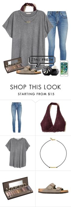 """""""stay fresh (in love with Anna Eva's youtube videos, go subscribe)"""" by alexislynea-804 on Polyvore featuring Yves Saint Laurent, Hollister Co., H&M, Vanessa Mooney, Urban Decay, Birkenstock, OtterBox and Eos"""