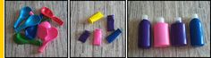 Cover travel bottles with different colors. Link not in English, but I think the pictures are enough to know how to do it - foto oggetto