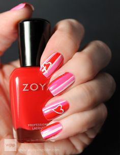 Happy Valentine's Day From Zoya Nail Polish! Head over heels for this nail art look? @work / play / polish used Zoya Nail Polish in Carmen, Zoya Ali and Zoya Sweet to create the funky, striped Valentine's Day manicure. Get them FREE* with any 25 dollar purchase NOW through 11:59pm EST, 02/27/13. Click through to blog for details!