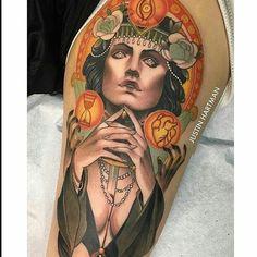 Neo traditional tattoo by Justin Hartman Pin Up Tattoos, Great Tattoos, Girl Tattoos, Tattoos For Women, Full Tattoo, Sick Tattoo, Tattoo Designs For Girls, Best Tattoo Designs, Knife Tattoo