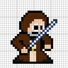 Ben Kenobi (Obi-Wan) Perler Bead Pattern Melty Bead Patterns, Perler Patterns, Beading Patterns, Xmas Cross Stitch, Cross Stitch Patterns, Minecraft Quilt, 8 Bits, Pearler Beads, Obi Wan