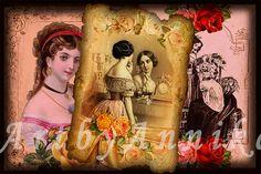 Vintage postcards of medieval girls  9 Digital ACEO by ArtByAnnika, $3.60