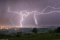 Breathtaking: A storm over Sandown Bay taken from Brading Down on the Isle of Wight. This ...