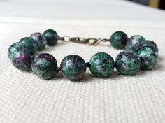 Ruby Zoisite Hand Knotted Bracelet Green Beaded by CITBhandmade