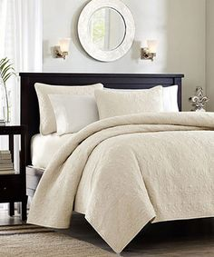 Another great find on #zulily! Ivory Ornate Beth Coverlet Set #zulilyfinds