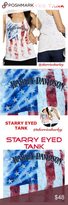 Starry Eyed Burnout Harley-Davidson Tank NWT White Tank Burnout Star design. Harley Davidson embellished Red White & Blue Flag front make this Starry Eyed tank a must for the American wardrobe. 50/50 Cotton/Poly. Made in U.S.A.  NWT. Harley-Davidson Tops Tank Tops