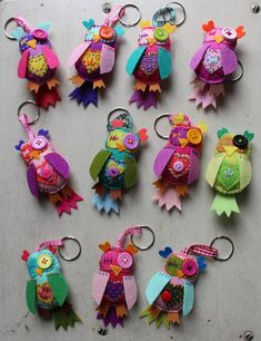 Patchyz - Owl Key chain original unique hand made collectable designed by Kathleen Flask