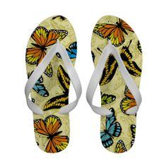 Butterflies colorful pattern flip flops