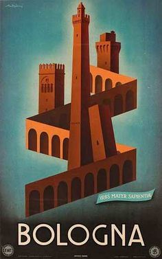 Bologna - Original ENIT Travel Poster  Date: 1947; Artist: Adriani (sp?); 24 x 39 inches (60 x 99 cm), Linen backed
