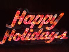 Vintage Holiday Glow Lighted Happy Holidays  Sign 144 Lights 8 Function With Box