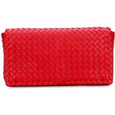 Bottega Veneta Small Intrecciato Flap Convertible Clutch Bag ($1,950) ❤ liked on Polyvore featuring bags, handbags, clutches, red, bottega veneta, bottega veneta purse, flap purse, red handbags and lambskin leather handbags
