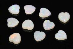 Opal Herz-Cabochon, 6mm, Edelstein Opal, Rhinestones, Opals
