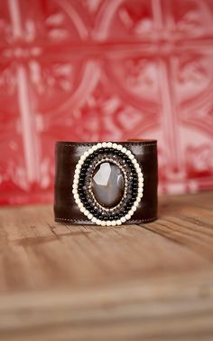 Pannee® Oval Stone with Beaded Trim Chocolate Leather Cuff