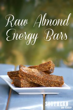 Raw Almond Energy Bars Recipe - A delicious healthy snack that's gluten free, raw, vegan, no-bake, sugar free, low fat and freezer friendly!
