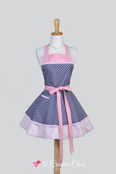 Ruffled Retro Womans Apron Pink Birthday Party Cupcakes Cute Full Kitchen Ruffled Apron CreativeChics