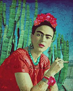 Frida Kahlo Print Instant Digital Download Cigarette Cactus Photomontage Turquoise Blue Green Red Black White Small t Poster Aqua Purple