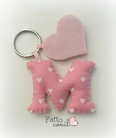 Favor keychain idea letter for your heart event - letter keychain wedding favor idea for your heart event - Felt Crafts Diy, Felt Diy, Sewing Crafts, Sewing Projects, Crafts For Kids, Felt Keychain, Keychains, Felt Decorations, Felt Christmas Ornaments