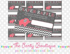 Pink & Gray Chevron Elephant Diaper Raffle by APartyBoutique, $6.00