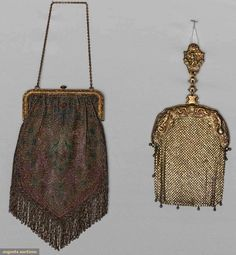 1 Sterling Mesh & 1 Beaded Purse, 1890s, Augusta Auctions, April 8, 2015 NYC, Lot 131