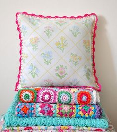 Pillow Cross stitch style with crochet trim by babytogo on Etsy, $35.00
